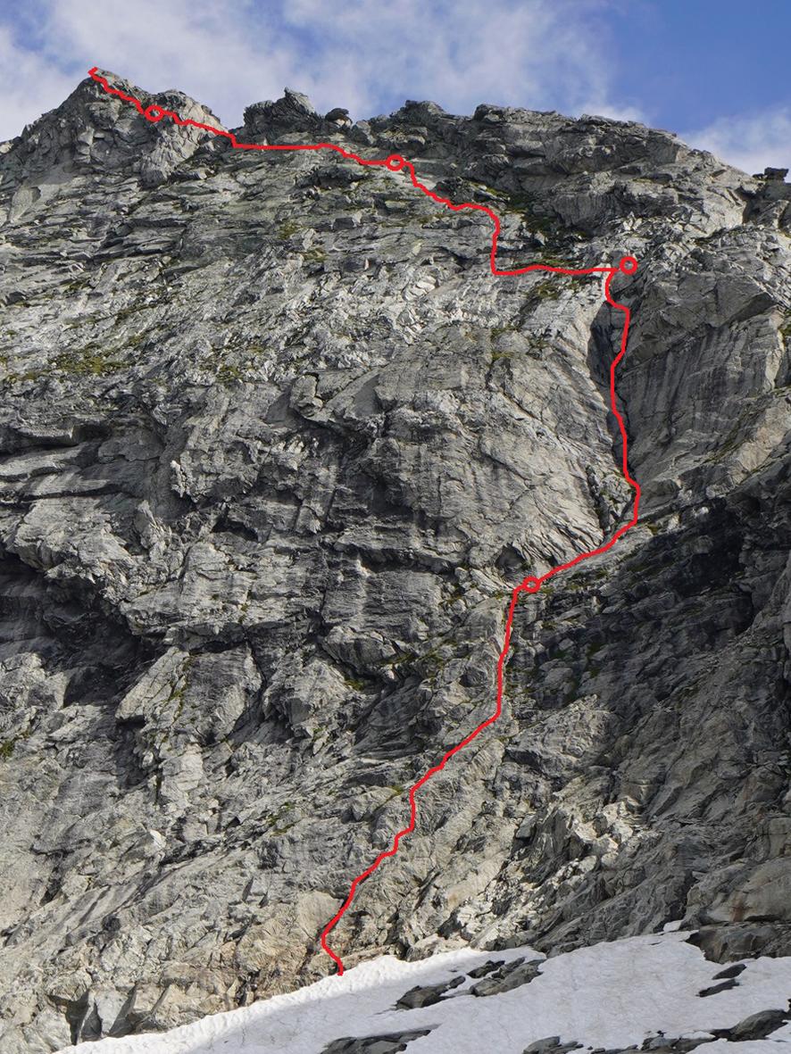 """Route """"Ewigkeit für Anfänger"""", auf die """"Hierjetzt-Spitze"""", links der Spatenwand"""